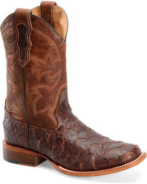 "Double H Men's 11"" Sea Bass Print Boots - Square Toe , Brown, hi-res"