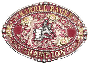 "AndWest Women's ""Barrel Racer Champion"" Pink Buckle, Two Tone, hi-res"
