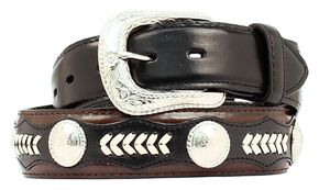 Nocona Leather Overlay & Laced Concho Belt, Black, hi-res