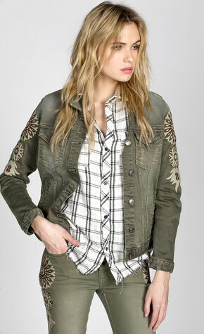 MM Vintage Women's Olive Ann Mary Denim Jacket, Olive, hi-res