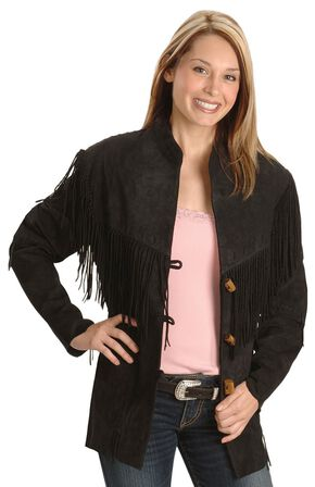 Scully Fringe Suede Leather Jacket, Black, hi-res