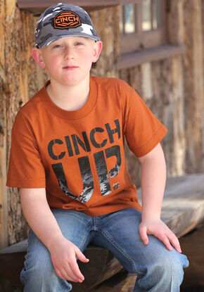 Cinch Boys' Orange Logo T-Shirt , Orange, hi-res