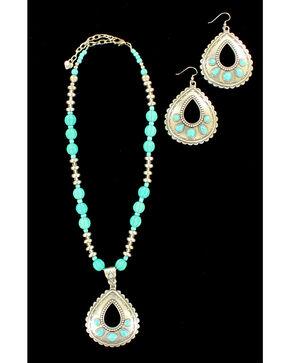 Blazin Roxx Teardrop Turquoise Necklace & Earrings Set, Silver, hi-res