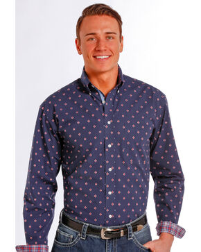 Rough Stock by Panhandle Slim Meribel Vintage Print Western Shirt , Navy, hi-res