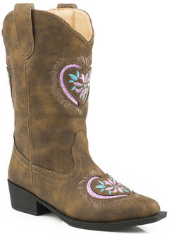 Roper Youth Girls' Pink Glitter Heart Cowgirl Boots - Snip Toe , , hi-res