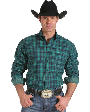 Cinch Men's Green Plaid Contrast Print Western Shirt, Forest Green, hi-res