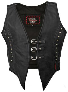 Milwaukee Motorcycle Studded Illusion Leather Vest - XL, , hi-res