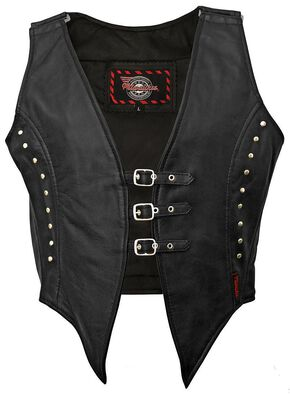 Milwaukee Motorcycle Studded Illusion Leather Vest - XL, Black, hi-res