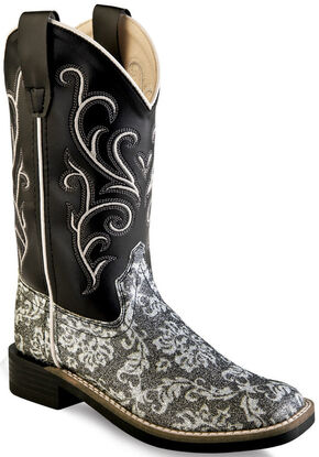 Old West Girls' Children Black Western Boots - Square Toe , Charcoal Grey, hi-res
