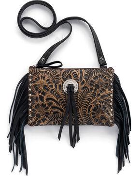 American West Honky Tonk Collection Fringe Crossbody Bag, Dark Brown, hi-res