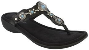 Minnetonka Women's Boca Thong III Sandals, Black, hi-res
