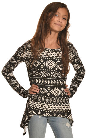 Derek Heart Girls' Black Print Super Soft Yummy Sharkbite Tunic, Black, hi-res