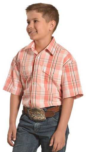 Panhandle Slim Boys' Short Sleeves Snap Plaid Shirt , Peach, hi-res