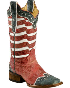Corral American Flag Distressed Cowgirl Boots - Square Toe, , hi-res