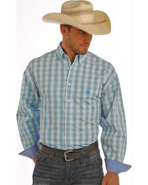Panhandle Slim Men's Blue Twill Check Shirt , Blue, hi-res