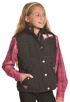Cowgirl Hardware Girls Black Turn & Burn Nylon Vest , Black, hi-res