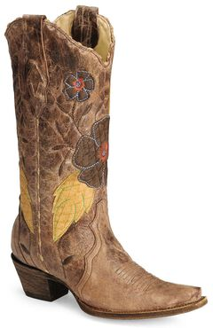 Corral Daisy Overlay Cowgirl Boot - Snip Toe, , hi-res