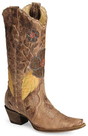 Corral Daisy Overlay Cowgirl Boot - Snip Toe, Tan, hi-res