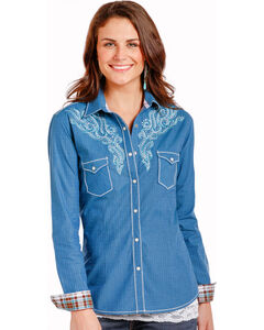 Rough Stock by Panhandle Women's Tribal Embroidery Snap Shirt, Blue, hi-res