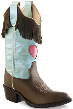 Old West Girls' Fringe Cowgirl Boots - Round Toe, , hi-res