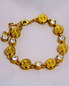 SouthLife Supply Women's Clara Bullet Link Bracelet in Traditional Gold with Crystal, , hi-res