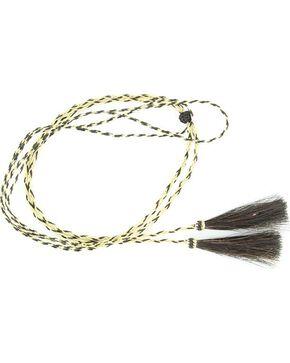 Blonde & Black Braided Horsehair Tassels Stampede String, Natural, hi-res