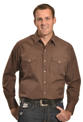Ely Cattleman Men's Brown Tonal Stripe Western Snap Shirt , Brown, hi-res