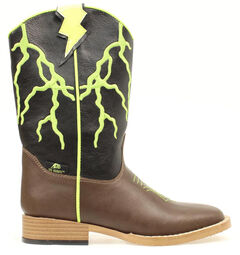 Double Barrel Youth Boys' Ace Lightning Bolt Youth Cowboy Boots - Square Toe, , hi-res