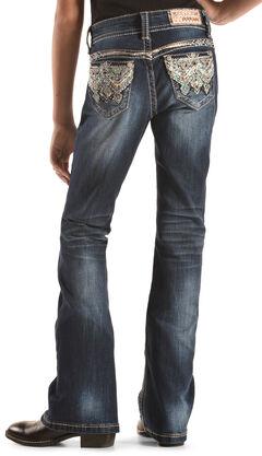 Grace in LA Girls' Dark Wash Lattice Scroll Bootcut Jeans , , hi-res