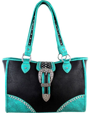 Montana West Black Buckle Dual Side Concealed Handgun Handbag, Black, hi-res