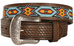 Nocona Beaded Inlay Leather Belt, Tan, hi-res