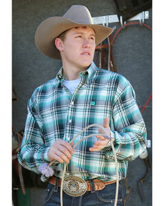 Cinch Men's Teal and Cream Plaid Western Shirt , , hi-res