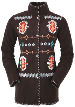 Outback Trading Company Women's Chocolate Aztec Fleece Jacket, , hi-res