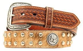 Ariat Basketweave & Hair on Hide Concho Studded Leather Belt, Multi, hi-res