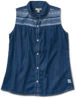 Silver Girls' Denim Sleevless Shirt, Indigo, hi-res