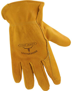 Cody James Men's Gold Grain Cowhide Work Gloves, Camel, hi-res
