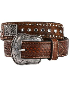 Nocona Kids' Rhinestone Hair-On-Hide Leather Belt - 18-28, Brown, hi-res