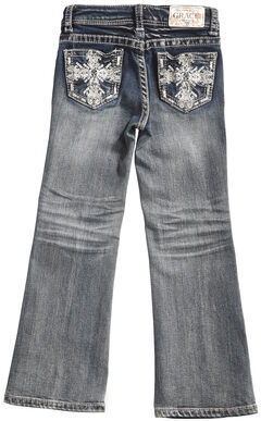 Grace in LA Girls' Dark Wash Scroll Bootcut Jeans , , hi-res