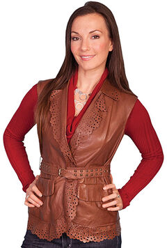 Scully Women's Perforated Lamb Leather Vest, , hi-res