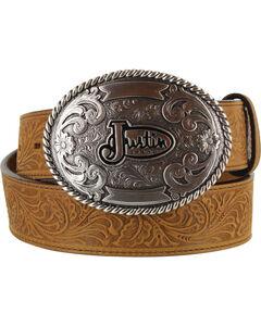 Justin Men's Floral Leather Trophy Belt , , hi-res