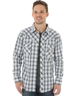 Wrangler Men's Black & White Plaid Western Jean Shirt, Black, hi-res