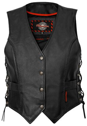 Milwaukee Motorcycle Deuce Leather Vest, Black, hi-res