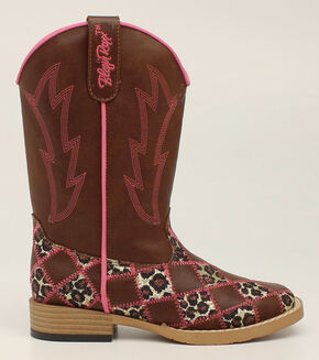 Blazin Roxx Girls' Miley Patchwork Cowgirl Boots - Square Toe, Brown, hi-res