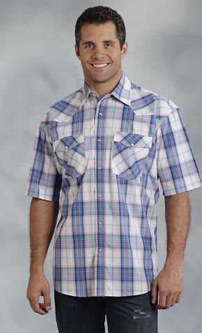 Roper Men's Amarillo Collection Blue & Red Plaid Short Sleeve Shirt, Blue, hi-res