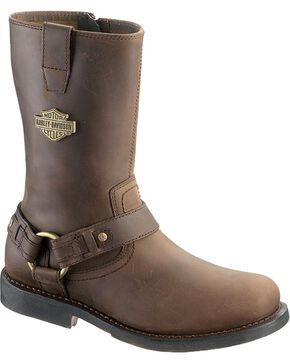 Harley Davidson Men's Josh Boots - Round Toe, Brown, hi-res