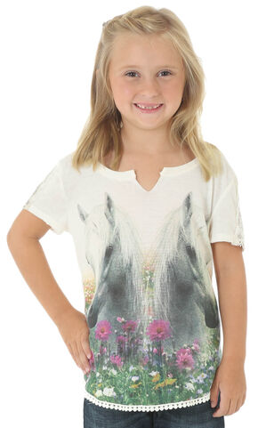 Wrangler Girls' Short Sleeve Horse Print Top, Ivory, hi-res