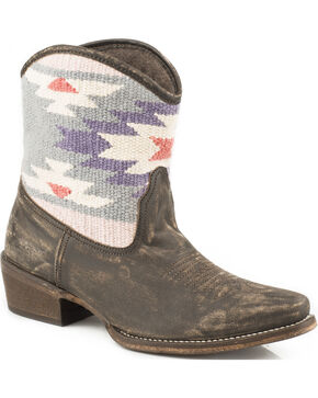 Roper Blanket Short Cowgirl Boots - Snip Toe, Brown, hi-res