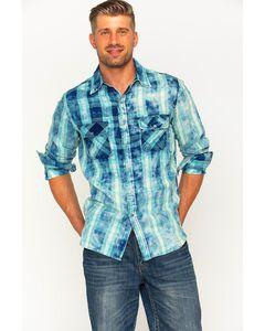 Ryan Michael Men's Indigo Faded Bleach Gingham Shirt , , hi-res