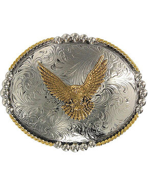 Cody James® Oval Eagle Belt Buckle, Silver, hi-res