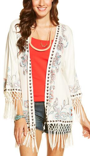 Ariat Women's Bennett Kimono, White, hi-res